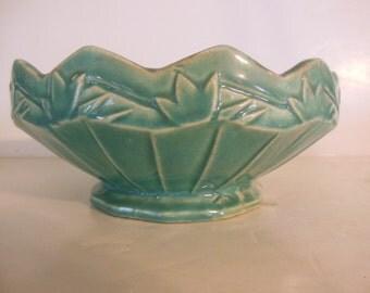 Rare McCoy Pottery Centerpiece Bowl, 1930s Aqua Turquoise,  Leaf Design, Sawtooth Edge