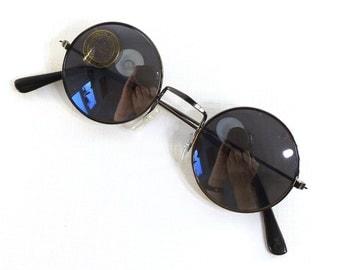 vintage 90s deadstock teashade sunglasses round metal frame sun glasses eyewear fashion men women unisex gunmetal gray grey charcoal lennon