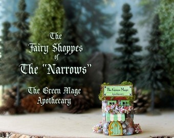 "The Fairy Shoppes of The ""Narrows"" - The Green Mage Apothecary -  N Scale Fairy Shoppe - Flower Boxes- Mossy Roof - Awning -Terrarium Decor"