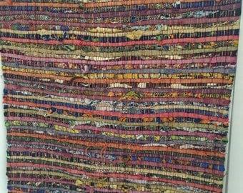 Hand Loomed Vintage Colorful Rag Rug