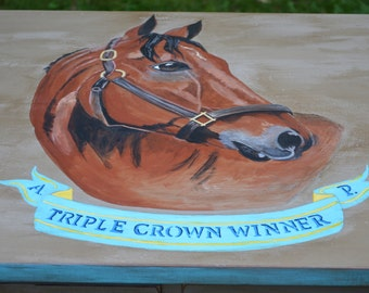 Hand Painted Equestrian Dresser, Triple Crown Winner, Horse Portrait, Kentucky Derby, Preakness, Belmont, Saratoga