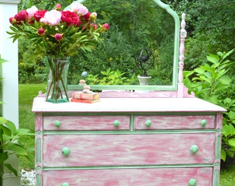 hand painted vintage dresser with mirror pink peony shabby chic dresser annie sloan painted furniture antique dresser framed leaning mirror shabby chic