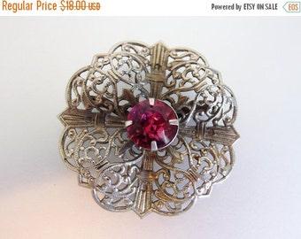 ON SALE Pretty Vintage Silver Tin Pink Rhinestone Brooch