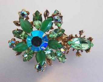 Pretty Vintage Sparkling Green and AB Rhinestone Brooch
