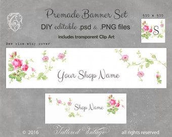 ROSeS Banner set Antique wallpaper PNG CliP ArT Editable PSD Premade Banners DIY Instant download
