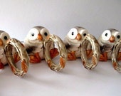 Fitz and Floyd Owl Napkin Rings 1978 Set of Four