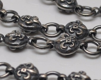 Antiqued Sterling Silver Necklace Chain Fleur de Lis French Heavy Solid 19.5 Inch 51.1 Grams
