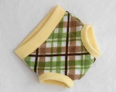 Medium Golf Plaid Anti-Pill Fleece Diaper Cover/Soaker, Yellow Green Brown White, Ready to Ship for Easter