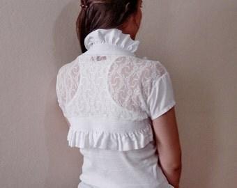 White Wedding Bolero Jacket Ruffle Bolero Size Small Knit bolero size Medium