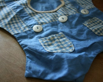 Adorable Tiny Vintage Blue Gingham  Pillow Bag Pouch Pin Holder Sock Holder