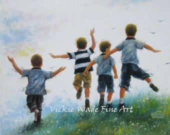 Four Brothers Leaping Art Print boys room wall art, four boys paintings, four boys jumping, four happy boys, summer art, Vickie Wade art