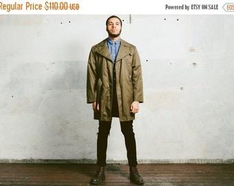 SALE . Vintage PARKA Trench Coat . 1970s Men's Coat 1970's Faux Fur Insulation Khaki Canvas Outerwear Urban . Medium Large  XL