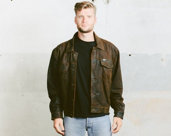 LEATHER Trucker Jacket . Vintage 80s Faded Worn In Distressed Dark Brown Leather Button Up Coat Outerwear Hipster Boyfriend Gift . Large XL