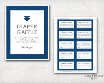 Diaper Raffle Ticket / Instant Download / Baby Shower Printable Raffle Ticket and display sign /Navy Blue / PRINTABLE / #218