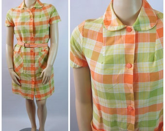 Late 60s Cotton Plaid Dress - 60s House Dress - Orange and Green