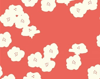 Organic Cotton Fabric-Birch- DOUBLE GAUZE- Poppies coral- Great Shipping Rates
