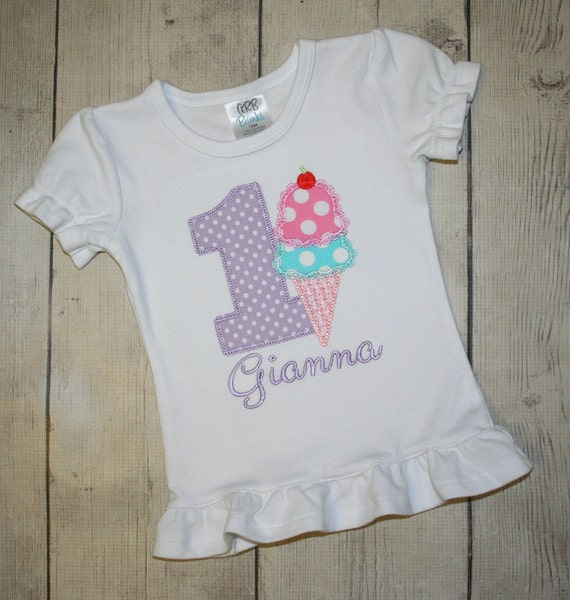 Girls Ice Cream Cone Birthday Applique Shirt- Free Personalization-- All birthday numbers are available