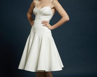 Size 6 Sample for Sale! Chloe-Vera basketweave silk short wedding dress