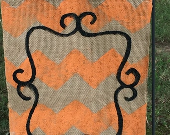 Orange Burlap Yard Flag Halloween Fall Porch Decor