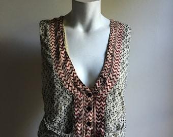 Indian Thin Cotton Blend Vest • Bohemian Vest Top • Small to Medium