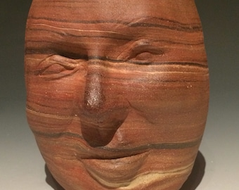 Marbled Face Cup Vase Vessel Head Sculpture Ikebana Pot Ceramic Art
