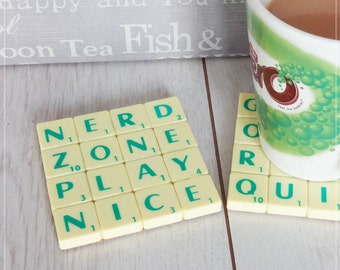 Geeky Gaming Coaster, Upcycled Scrabble Tiles, Nerd Zone, Play Nice, Cork Backing, Desk Accessories