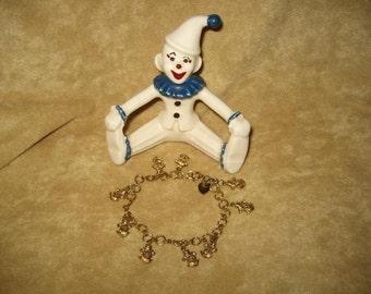 Sterling Vermeil Charm Bracelet with Clowns Vintage