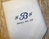 Monogram Groomsmen Handkerchief Embroidered Handkerchief Groom Custom Personalized Wedding Embroidered Hankerchief