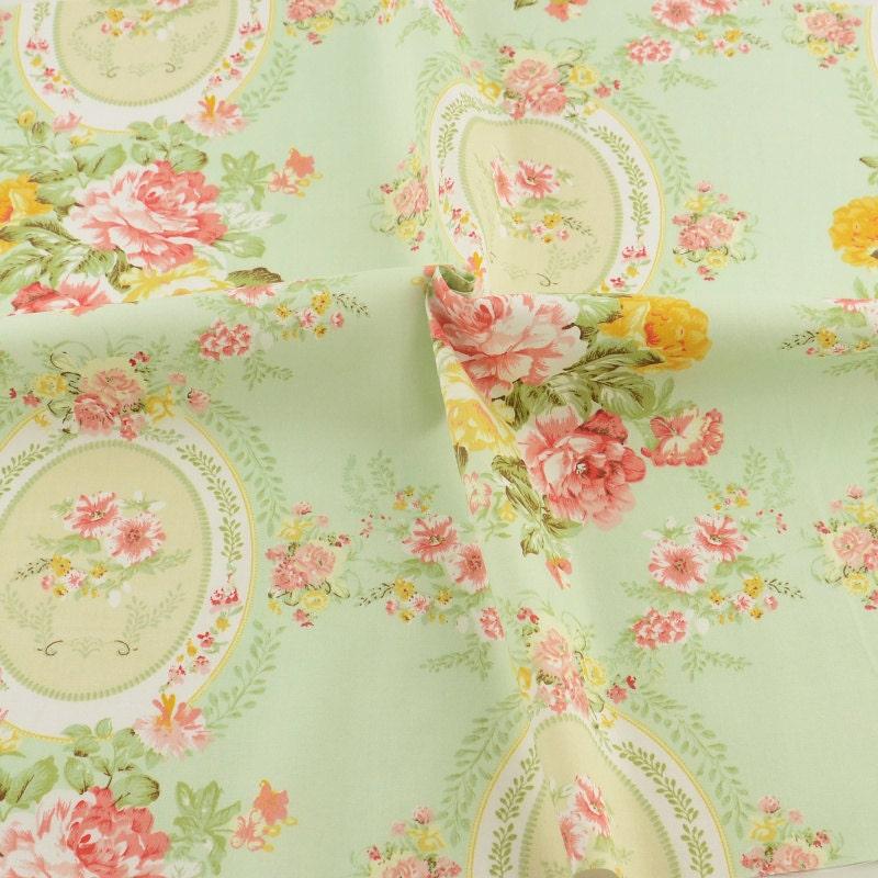 mint floral pattern print cotton fabric quarter