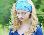 Ladies Headband Turquoise Blue Knit Headwrap Jersey Knit Head Scarf Head Wrap for Women Fitness Hair Band Fabric Headscarf  (#1111) M L