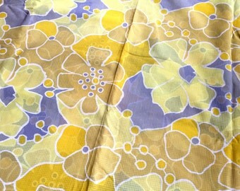Vintage 70's Mod Sheer Cotton Floral Fabric Yellow/Gray 6.5 Yds
