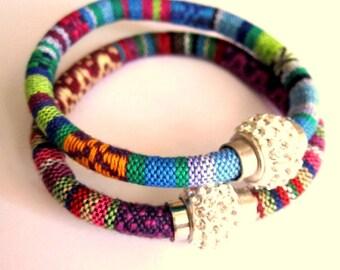 Tribal Woven bracelet, Bohemian Jewelry, Aguayo, Boho, Tribal jewelry, Rhinestone bracelet