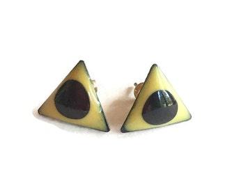 Vintage Enamel earrings, Modernist, Abstract Triangle