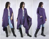 2 in 1 - Long Sleeve Or Sleeveless Asymmetrical Hem Purple Cotton Mix Polyester Tunic Wrap Cardigan Or Vest