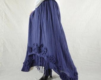 Plus Size Funky Boho Gpysy Hippie Floral Applique Navy Blue Double Layer Light Cotton skirt Size 8  To Size 22