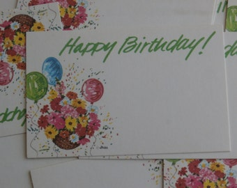 12 Vintage Happy Birthday Florist Inserts Cards, Tiny Tags for Crafting and Such