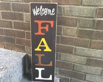 "Fall sign/Vertical Fall Sign/Welcome Sign/Wood Sign/Autumn Sign/Home Decor/Porch Sign/Patio Sign/Halloween Sign/DAWNSPAINTING/8""x24"""