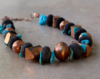 Chunky Hill Tribe Copper and Blue Turquoise Necklace Rare Geometric Copper Shapes w Turquoise and Black Lava Gemstone Jewelry
