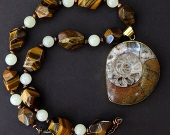 SALE Large Ammonite Fossil Pendant with Faceted Tiger Eye Nuggets and Vintage Agate Earthy Rustic Gemstone Jewelry