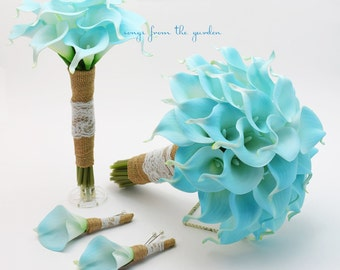 Ready to Ship - Blue Real Touch Calla Lily Burlap and Lace Bridal Bouquet Groom's Boutonniere Bridesmaid Bouquet Groomsman Boutonniere
