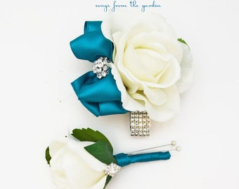 Teal and White with Rhinestones Real Touch Rose Wedding Boutonniere Wedding Corsage Mother of the Bride Father Flowers Prom Corsage