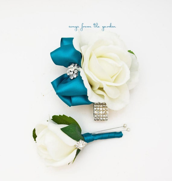 teal and white with rhinestones real touch rose wedding. Black Bedroom Furniture Sets. Home Design Ideas