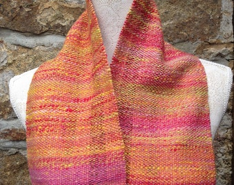Summer Fruits - Hand Woven Scarf in Handspun Yarn, Cornwall, UK