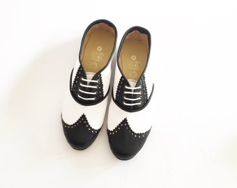 Black and White Pony Brogues (Handmade to Order)
