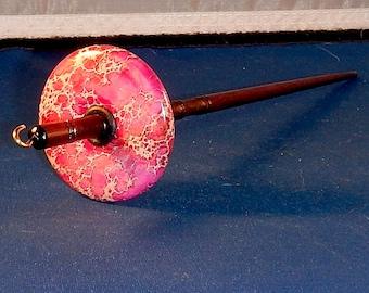 1.125 oz Pink Sea Sediment Jasper Stone Top Whorl Drop Spindle - Handmade