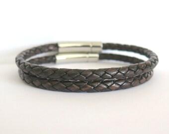 Mens Leather Bracelet - Antique Brown - Leather Bracelet - Gifts For Him