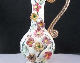 Vintage 3D Hand Painted Pacific Japan Floral Vase~Pitcher
