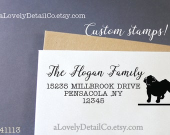address stamp Bulldog custom stamp address Custom Rubber stamp Self ink Return Address Signature  Stamp great gift