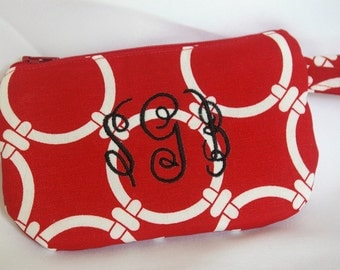 Small Phone/Credit Card Wristlet in Red...The Sasha Collection