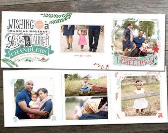 Standard Clear 5x5 Tri-Fold Christmas Photo Card, Holiday Photo Card, Photoshop Template